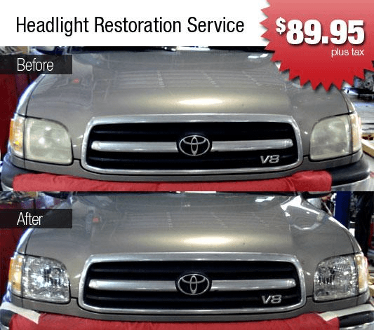 Folsom Lake Toyota Collision Center Specials. Headlight Restoration Service.  Over Time, Headlamp Lenses Can Become Yellow, Cloudy, And Pitted.
